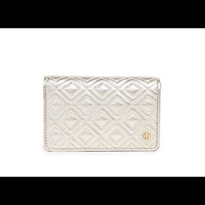 Tory Burch Metallic Slim Quilted Wallet White Gold